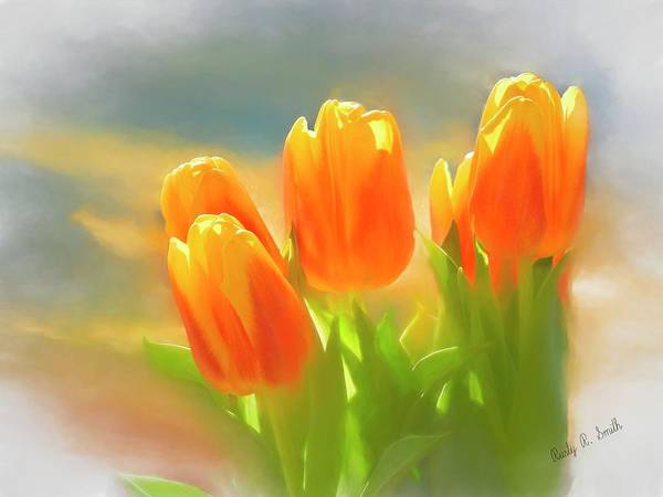 Digital Art - A Group Of Orange And Yellow Tulips. by Rusty R Smith
