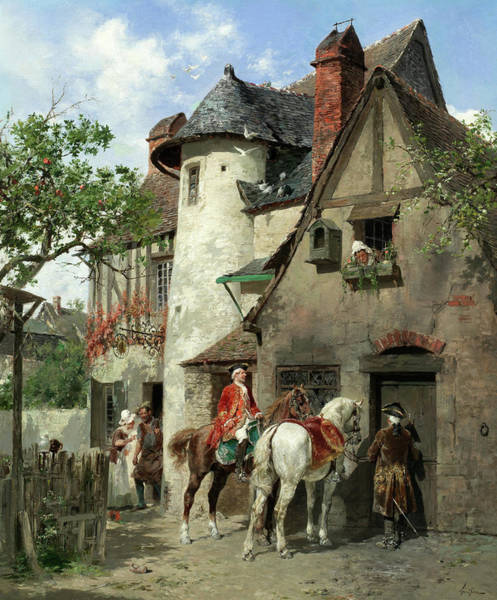 Wall Art - Painting - A Halt At A Country Inn by Francois Adolphe Grison