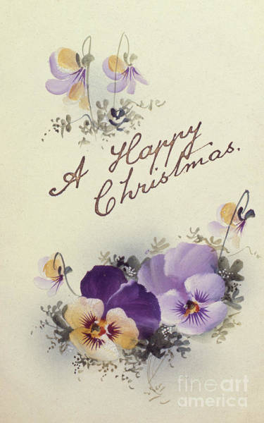 Wall Art - Painting - A Happy Christmas  Vintage Christmas Card by English School