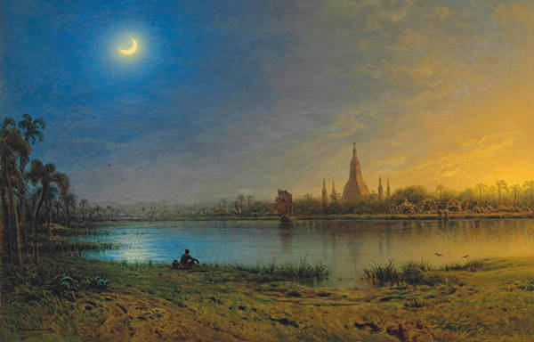 Painting - A Holy Lake In Burma by Eduard Hildebrandt