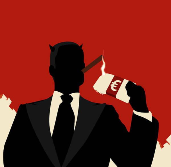 Capitalism Digital Art - A Horned Businessman Igniting A Cigar by Ralf Hiemisch