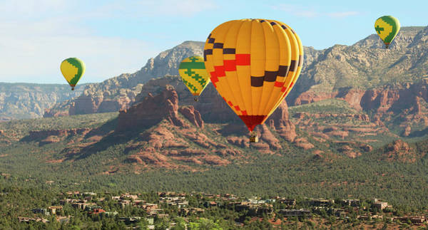 Wicker Basket Digital Art - A Hot Air Balloon Foursome Soars Above Sedona, Arizona by Derrick Neill