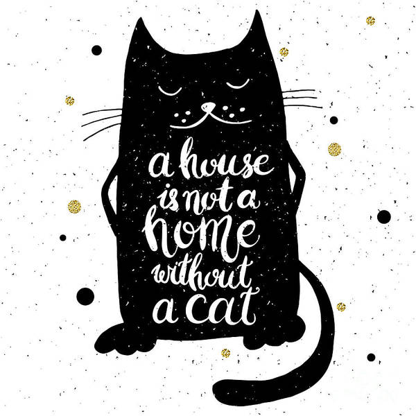 Typographic Wall Art - Digital Art - A House Is Not A Home Without A Cat by Brumarina