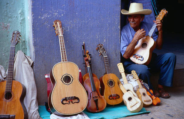 Indigenous People Photograph - A Huastec Guitar Seller, Selling His by James Lyon