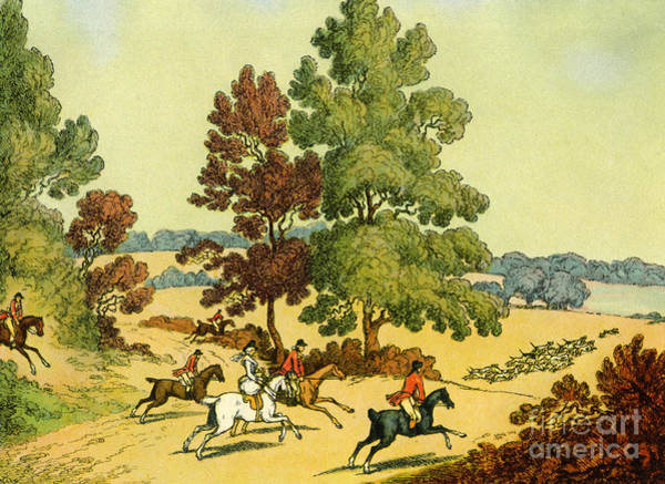 Wall Art - Drawing - A Hunt Chasing Hounds Over Clear Ground by English School