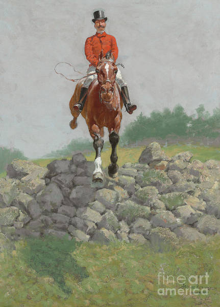 Wall Art - Painting - A Hunting Man, In Full Pursuit by Frederic Remington