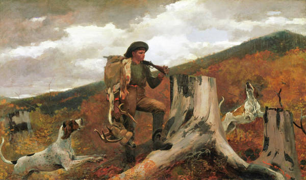 Stump Painting - A Huntsman And Dogs - Digital Remastered Edition by Winslow Homer