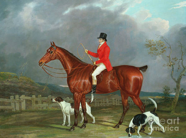 Reins Painting - A Huntsman And Hounds, 1824  by David of York Dalby