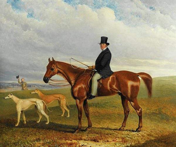Field Spaniel Painting - A Huntsman With Greyhounds by Thomas Henwood