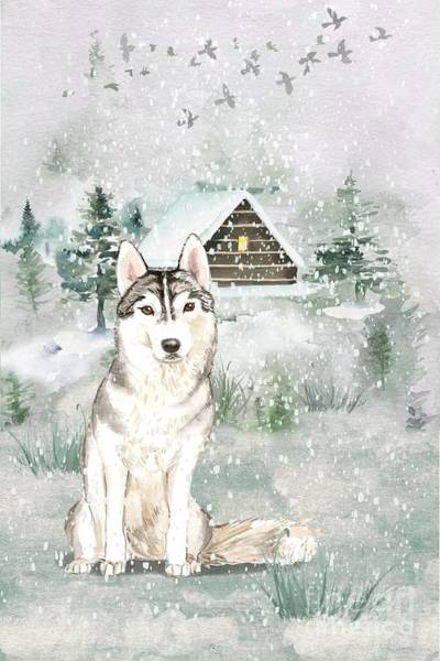 Pedigree Painting - A Winters Tail by John Edwards