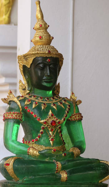 Chang Mai Wall Art - Photograph - A Jade Buddha Statue, Chiang Mai, Thailand by Derrick Neill