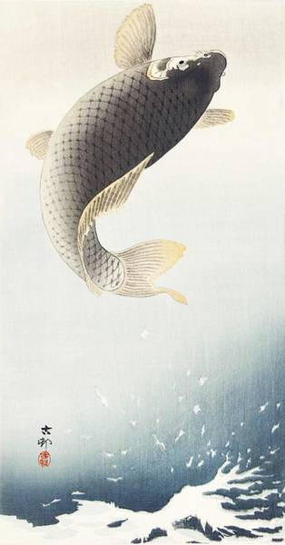 Wall Art - Painting - A Jumping Carp  1900-1930  By Ohara Koson  1877-1945  by Celestial Images