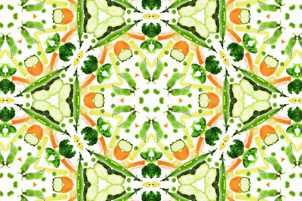 Large Photograph - A Kaleidoscope Image Of Fresh Vegetables by Andrew Bret Wallis