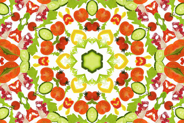 Wall Art - Photograph - A Kaleidoscope Image Of Salad Vegetables by Andrew Bret Wallis