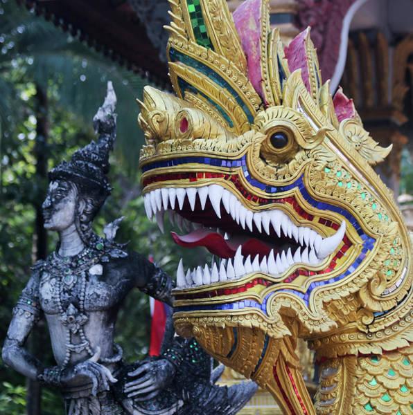 Chang Mai Wall Art - Photograph - A Kinnara And Dragon Statue, Wat Chang Kam Phra Wihan, Wiang Kum by Derrick Neill