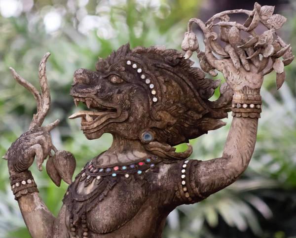 Chang Mai Wall Art - Photograph - A Kinnara Temple Statue, Chiang Mai, Thailand by Derrick Neill