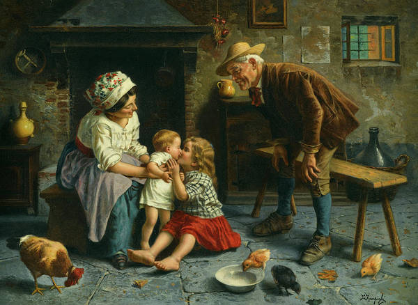 Rural Life Wall Art - Painting - A Kiss For The Baby by Eugenio Zampighi
