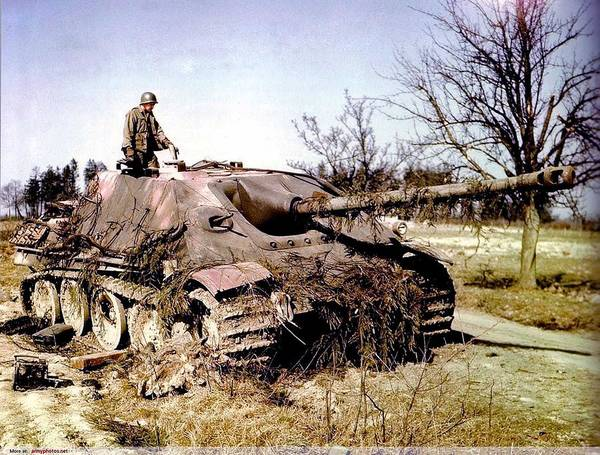 Wall Art - Painting - A Knocked-out Jagdpanther Being Examined By A Us Soldier by Celestial Images