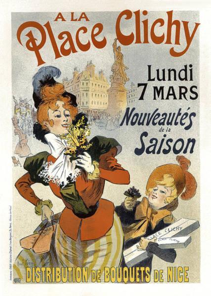 Painting - A La Place Clichy Bouquets Vintage French Advertising by Vintage French Advertising