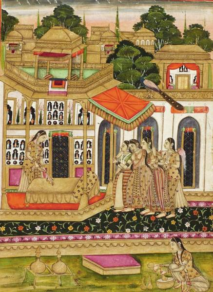 Wall Art - Painting - A Lady Is Led To Her Bed By Attendants, India, Rajasthan, Bikaner, First Half 18th Century by Celestial Images