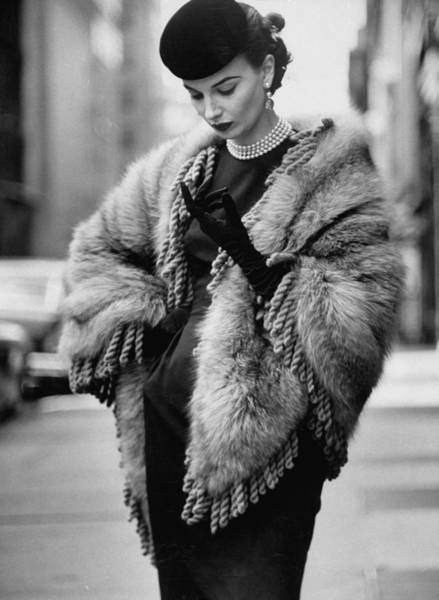 Photograph - A Lady Modeling A Fringed Shawl Made Of by Gordon Parks