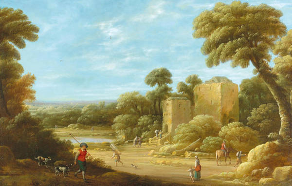 Wall Art - Painting - A Landscape With Figures In Front Of A Ruin by Joost Cornelisz Droochsloot