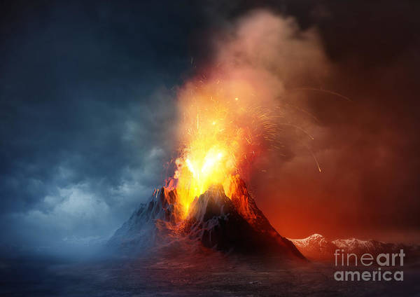 Wall Art - Digital Art - A Large Volcano Erupting Hot Lava And by Solarseven