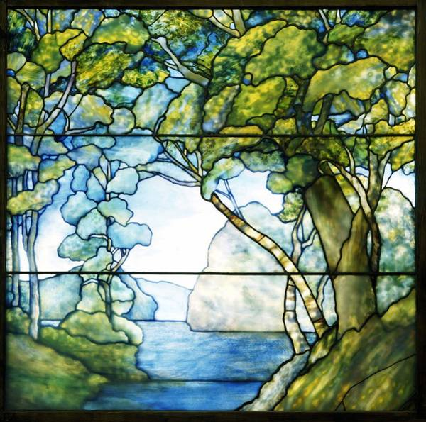 Leaded Glass Painting - A Leaded Glass Landscape Window Depicting A Passage To The Sea  by Tiffany Studios