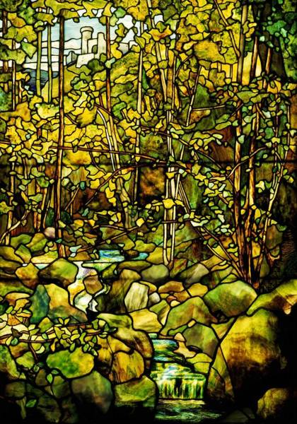 Leaded Glass Painting - A Leaded Glass Window Of A Woodland Scene  by Tiffany Studios