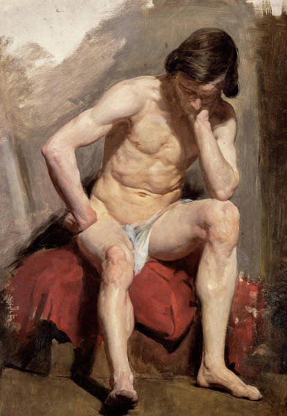 Wall Art - Painting - A Life Study Of A Seated Nude Male Model by William McTaggart