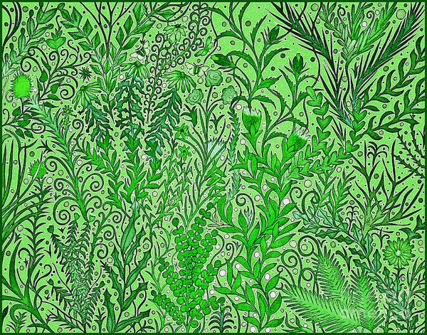 Mixed Media - A Light Green Chaotic Garden by Lise Winne
