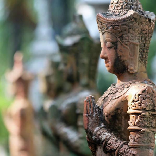 Chang Mai Wall Art - Photograph - A Line Of Praying Buddha Statues, Chiang Mai, Thailand by Derrick Neill