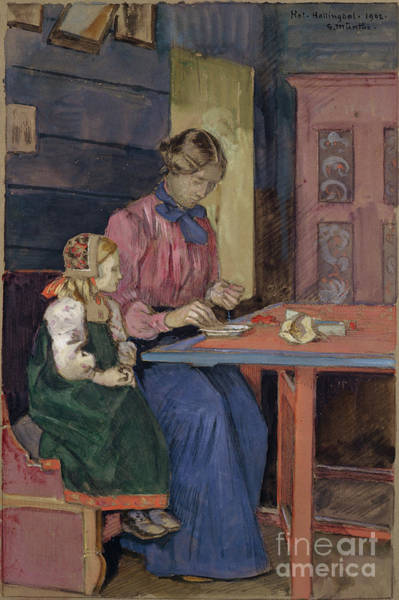 Practice Mixed Media - A Litte Hallingdal Girl Learns How To Tread Pearls by O Vaering by Gerhard Munthe