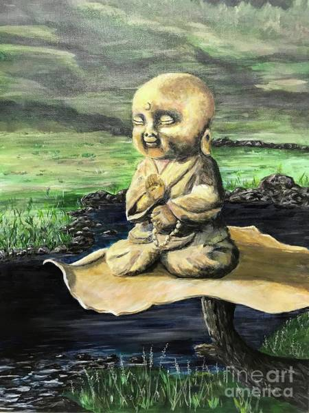 Wall Art - Painting - A Little Buddha Doing What He Loves To Do by Rosie Kuhn