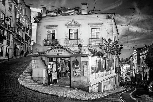 Wall Art - Photograph - A Little Corner Of Lisbon Portugal In Black And White by Carol Japp