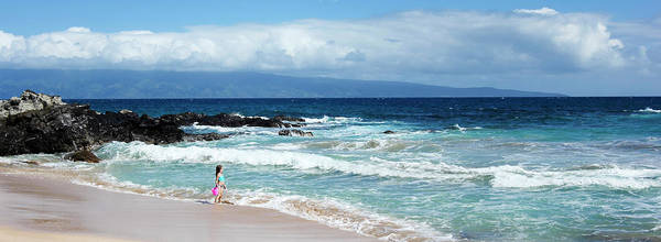 Hawaiiana Photograph - A Little Girl With A Pink Bucket, Oneloa Bay, West Maui, Hawaii by Derrick Neill