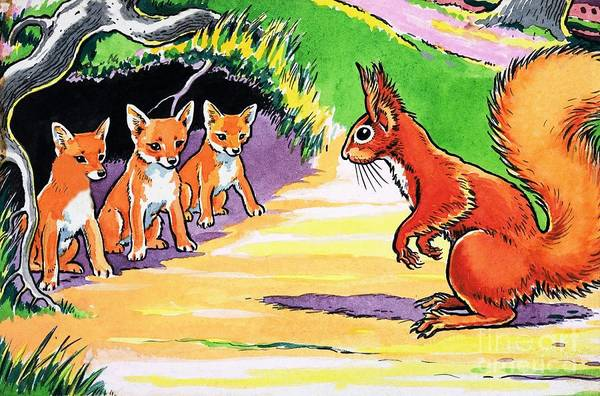 Wall Art - Painting - A Little Red Squirrel And Three Fox Cubs by Harry M Pettit