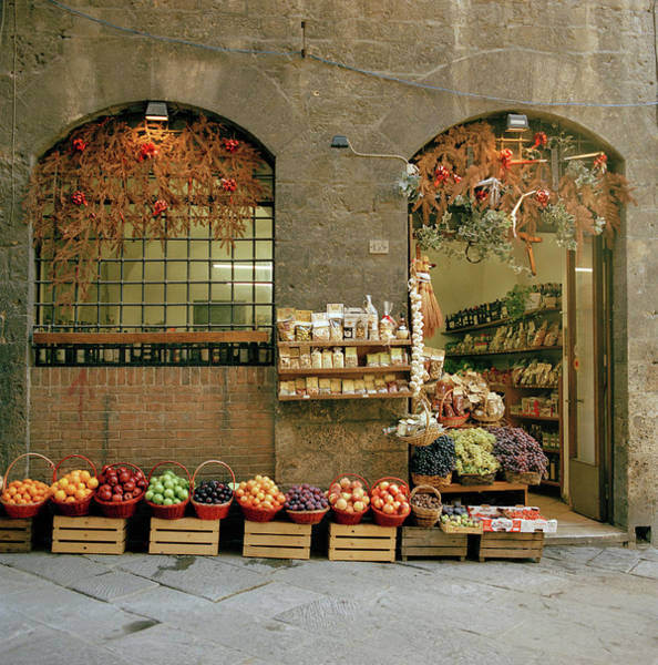 Delicatessen Photograph - A Local Grocery Shop In Siena, Tuscany by Cultura Rm Exclusive/philip Lee Harvey