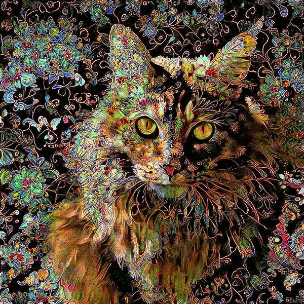 Digital Art - A Long Haired Tabby Cat Named Alfie by Peggy Collins