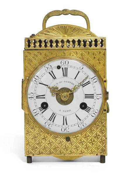 Wall Art - Painting - A Louis Xvi Ormolu Quarter Repeating Travelling Clock With Alarm, Jean Baptiste Du Tertre, Paris, Ci by Celestial Images