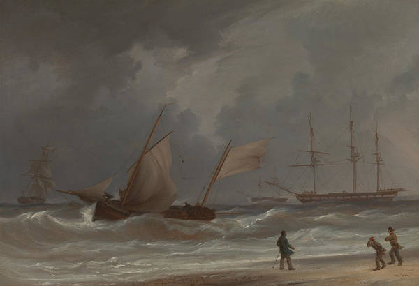 Painting - A Lugger Driving Ashore In A Gale by William Joy