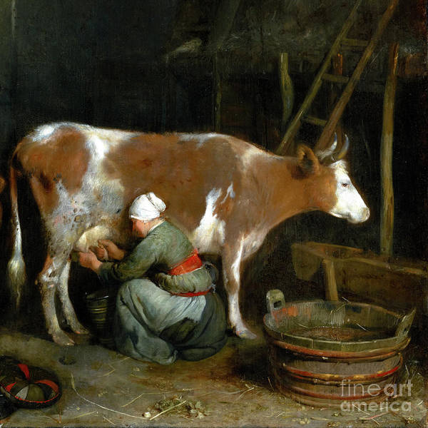Wall Art - Painting - A Maid Milking A Cow In A Barn by Audrey Jeanne Roberts