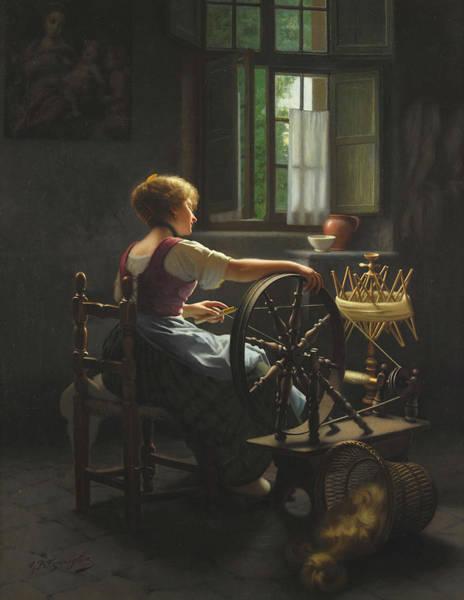 Rural Life Wall Art - Painting - A Maiden Spinning Yarn by Giovanni Battista Torriglia