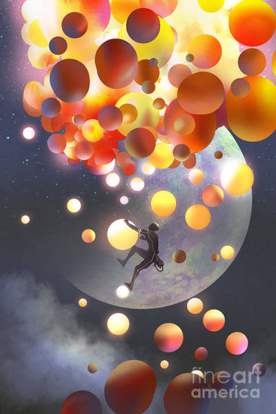 Wall Art - Digital Art - A Man Climbing Fantasy Balloons Against by Tithi Luadthong