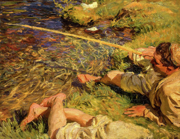 Wall Art - Painting - A Man Fishing, 1907 by John Singer Sargent