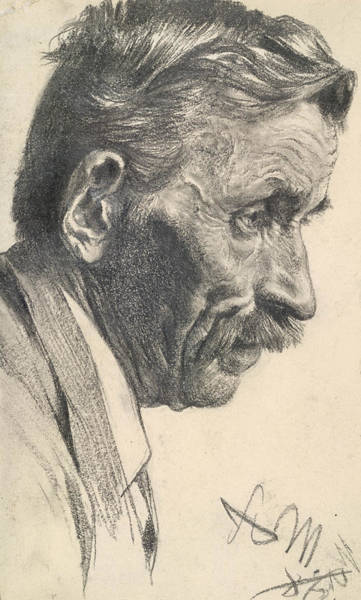 Drawing - A Man's Head by Adolph Menzel