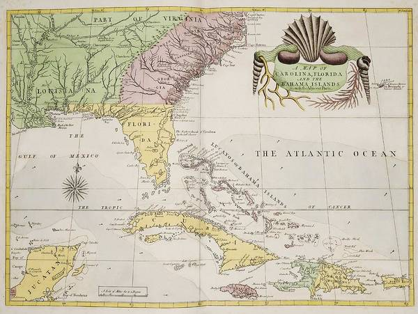 Wall Art - Painting - A Map Of Carolina, Florida And The Bahama Islands With The Adjacent Parts From The Natural History O by Celestial Images