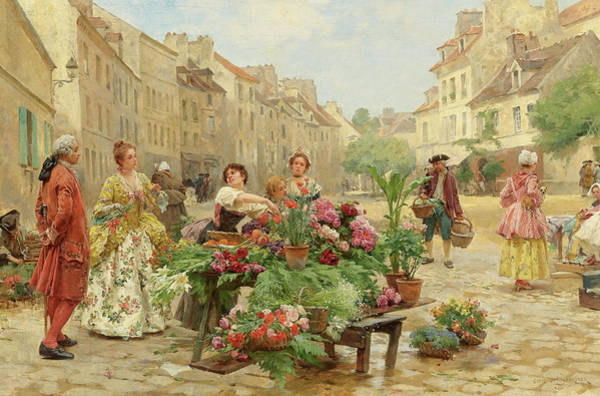 Wall Art - Painting - A Market In The Eighteenth Century by Louis Marie de Schryver