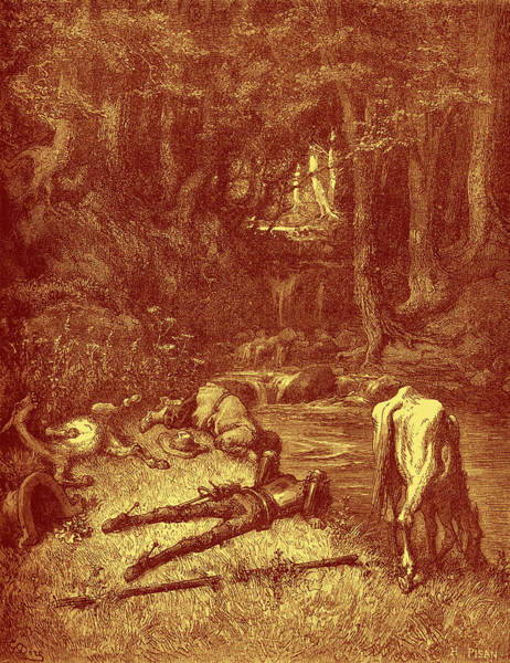 Wall Art - Painting - A Meadow Watered With A Rivulet, Invited Them To Alight by Gustave Dore