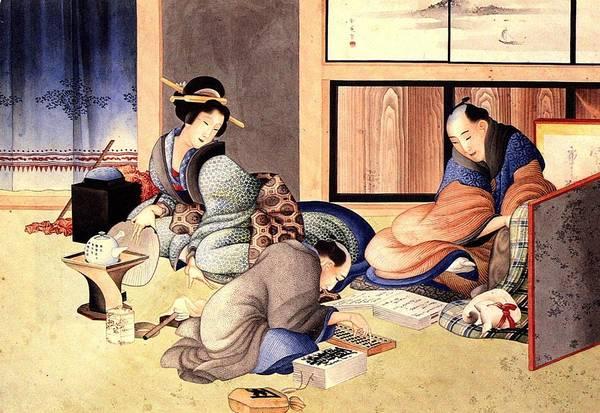 Wall Art - Painting - A Merchant Making Up The Account  by Katsushika Hokusai